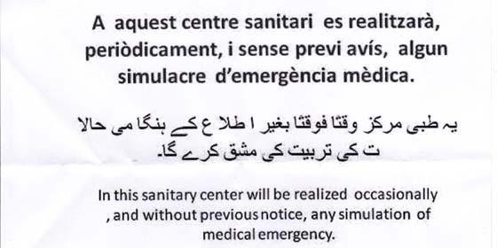 Cartel en el Centro de Salud
